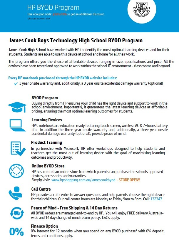 Byod Program With Hp Australia 10 For All Jcbths Students Until 7th December